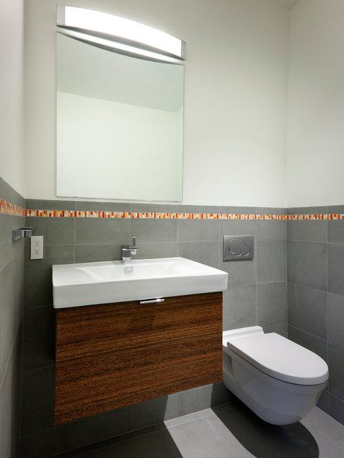 Foto e idee per bagni di servizio bagno di servizio moderno con pavimento con cementine - Bagno con cementine ...