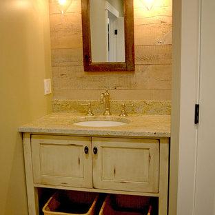 Powder Room   Small Rustic Slate Floor Powder Room Idea In Portland Maine  With Furniture