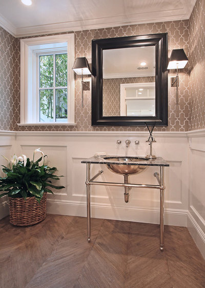 American Traditional Powder Room by Patterson Custom Homes