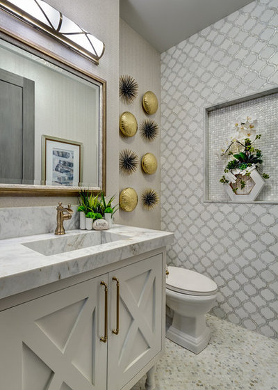 Beach Style Powder Room by Obvious Flair Interior Design