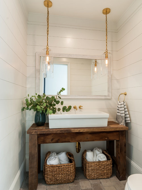 Inspiration For A Farmhouse Limestone Floor And Brown Powder Room Remodel In San Go With