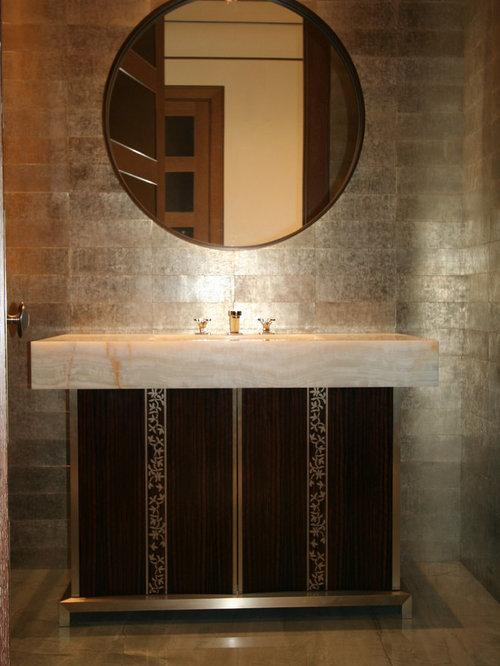 photos et id es d co de wc et toilettes avec un plan de toilette en onyx et un carrelage gris. Black Bedroom Furniture Sets. Home Design Ideas