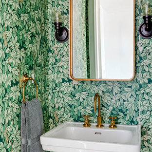 Example Of A Transitional Powder Room Design In Boston With A Pedestal Sink  And Green Walls