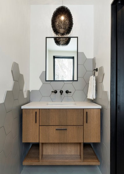 Contemporary Powder Room by Sustainable Nine Design + Build