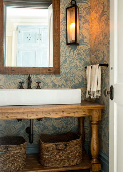 American Traditional Powder Room by ML Interior Designs
