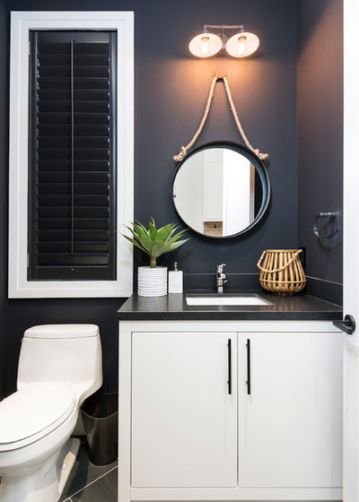 Transitional Powder Room by LB Design