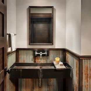 Cette image montre un WC et toilettes chalet avec carrelage en métal, un mur blanc, une grande vasque, un sol en bois foncé et un sol marron.