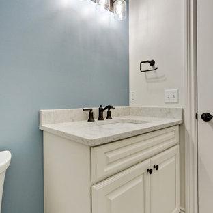 На фото: маленький туалет в классическом стиле с фасадами с выступающей филенкой, белыми фасадами, синими стенами, полом из ламината, врезной раковиной, столешницей из искусственного кварца, серым полом, серой столешницей и встроенной тумбой с