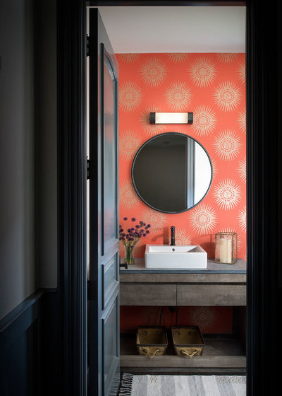 Transitional Powder Room by Yellow House