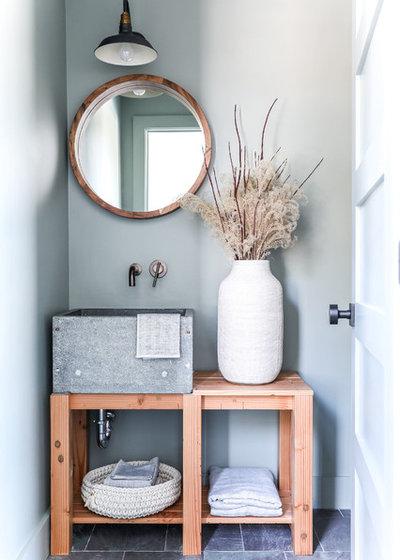 Coastal Powder Room by Tyler Karu Design + Interiors