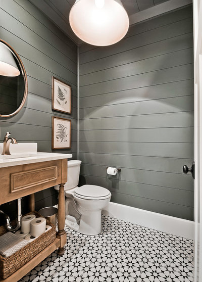Farmhouse Powder Room by Celtic Custom Homes