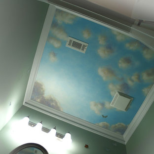 Blue Sky Mural Ceiling on Canvas with Silver  Leaf Accents by Visionary Mural Co
