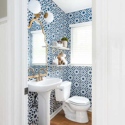 Powder room - transitional medium tone wood floor and brown floor powder room idea in Chicago with a two-piece toilet, a pedestal sink and multicolored walls