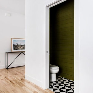 This is an example of a small contemporary powder room in Grand Rapids with green walls, ceramic floors and multi-coloured floor.