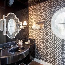 Transitional Powder Room by Lisa Vail Design