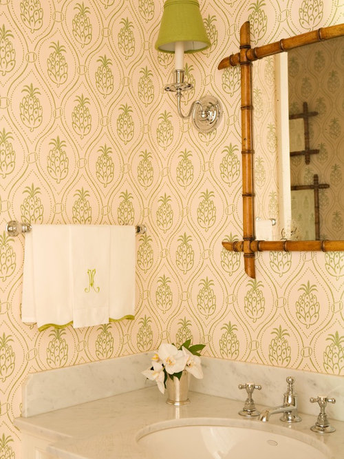 eclectic powder room idea in los angeles with an undermount sink