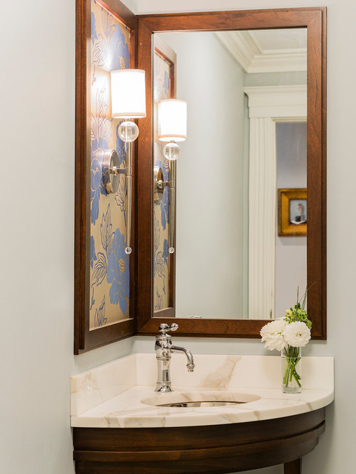 Amazing Inspiration For A Small Contemporary Powder Room Remodel In Boston With An  Undermount Sink