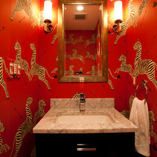 Eclectic Powder Room by Waterlily Interiors