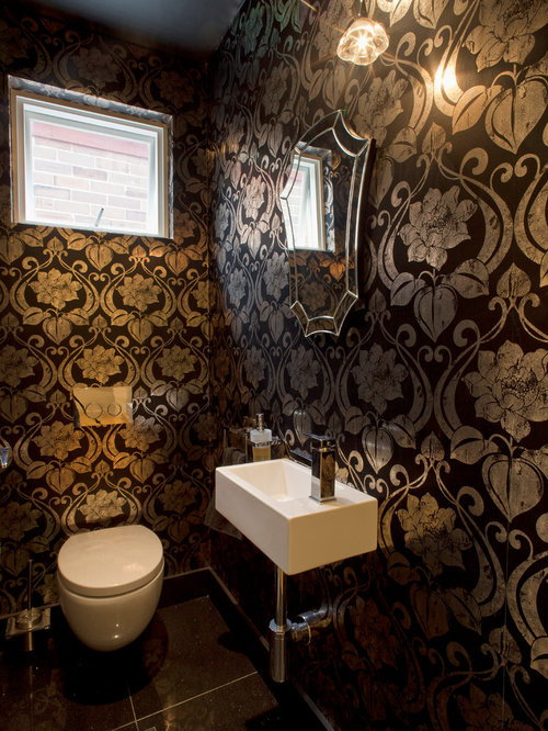 black and gold toilet. Example of a trendy powder room design in Sydney with wall mount sink  Black And Gold Wallpaper Houzz