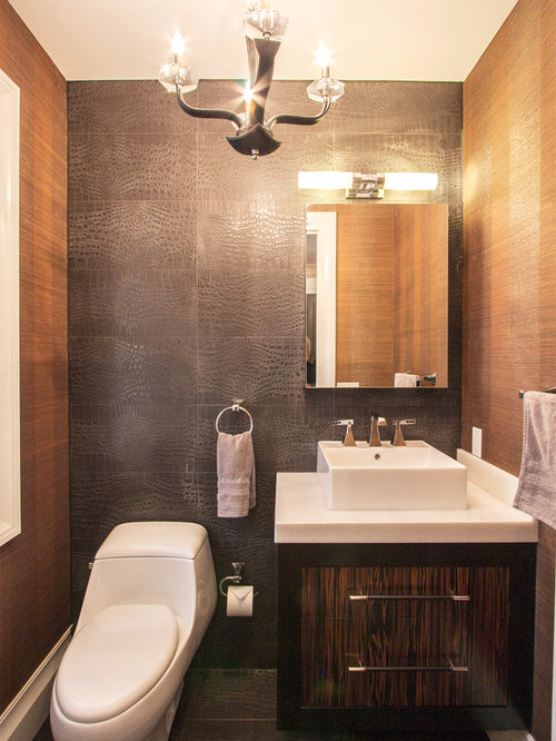 Inspiration for a contemporary powder room remodel in New York with a  vessel sink, flat - Wood Grain Porcelain Tile Houzz