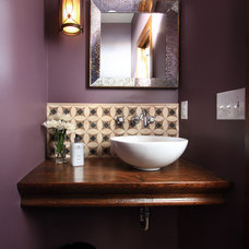 Eclectic Powder Room by Sethbennphoto