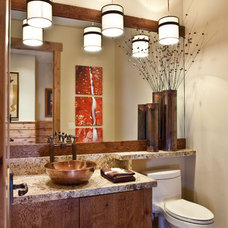 Rustic Powder Room by Cameo Homes Inc.