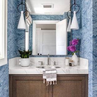Idéer för att renovera ett vintage vit vitt toalett, med luckor med infälld panel, skåp i mörkt trä, blå väggar, ett undermonterad handfat och brunt golv
