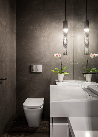 Contemporary Powder Room by Impress Photography