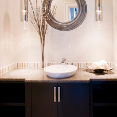 Transitional Powder Room by Starline Cabinets