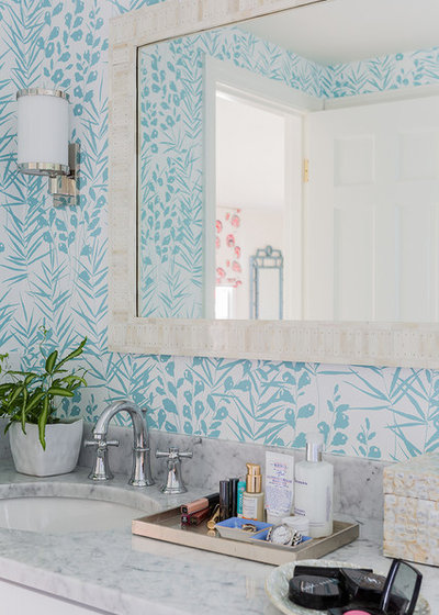 Contemporary Powder Room by Katie Rosenfeld Design