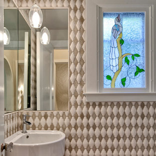 Inspiration for a small bohemian cloakroom in Phoenix with a wall-mounted sink, multi-coloured tiles, ceramic tiles and multi-coloured walls.