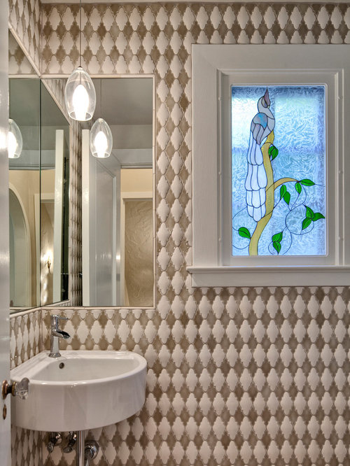 Marvelous Example Of A Small Eclectic Multicolored Tile And Ceramic Tile Powder Room  Design In Seattle With