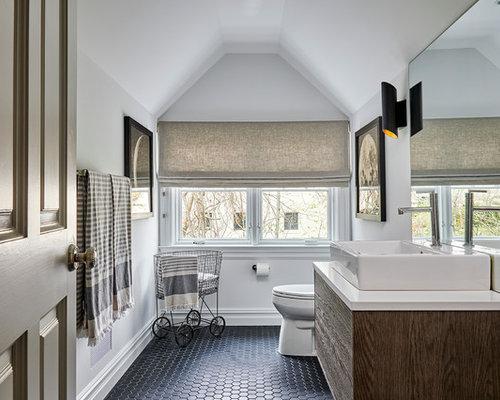 Powder Room   Mid Sized Transitional Mosaic Tile Floor And Black Floor  Powder Room Idea