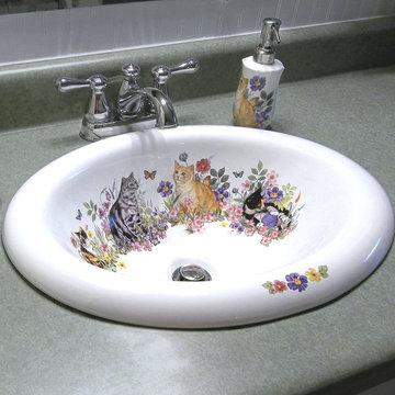 Cats in the Garden Painted Sink & Dispenser