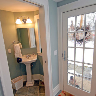 Design ideas for a medium sized classic cloakroom in Cleveland with a pedestal sink, a two-piece toilet, blue walls, slate flooring and grey floors.