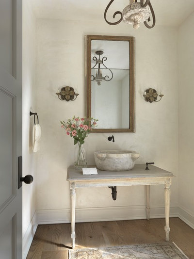 Shabby-chic Style Powder Room by Amy Studebaker Design