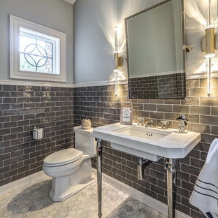 Inspiration For A Transitional Gray Tile Floor Powder Room Remodel In Other With Walls