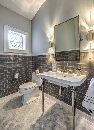 Trending now 15 powder rooms that steal the show for Two piece bathroom ideas