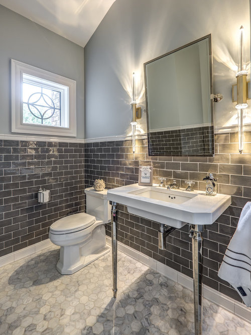 Best Powder Room With Gray Tile Design Ideas amp Remodel Pictures