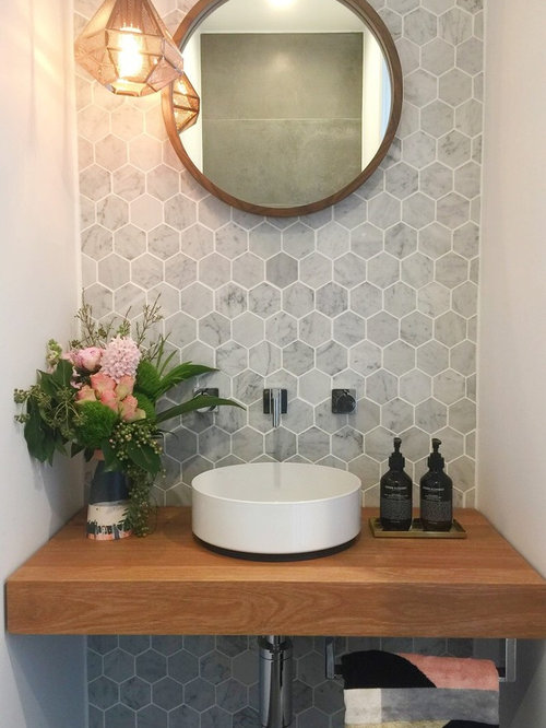 30 Trendy Marble Tile Powder Room Design Ideas - Pictures of Marble ...
