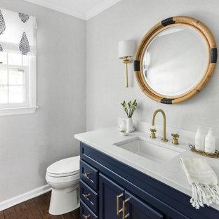 Modelo de aseo clásico renovado con armarios con paneles empotrados, puertas de armario azules, paredes grises, suelo de madera oscura, lavabo bajoencimera, suelo marrón y encimeras blancas