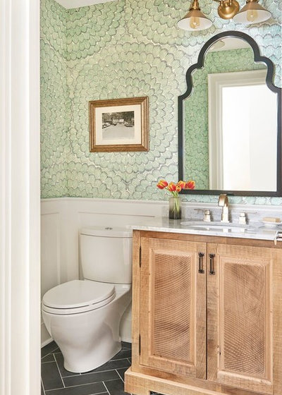 Transitional Powder Room by Rebecca Hay Designs