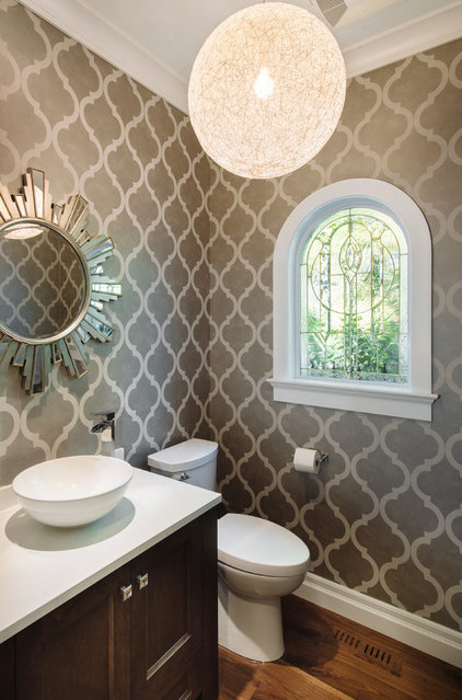Transitional Powder Room by Kenorah Design + Build Ltd.