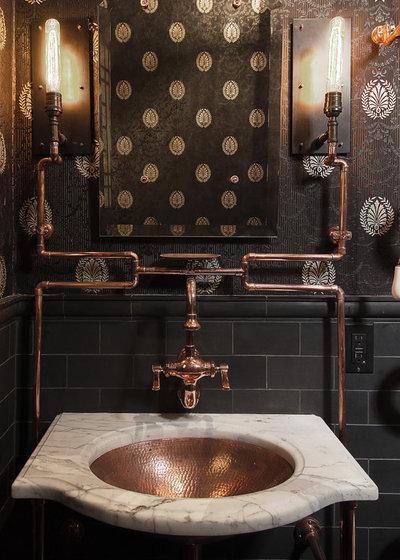 Industrial Powder Room by Frederic Grasset Design Build