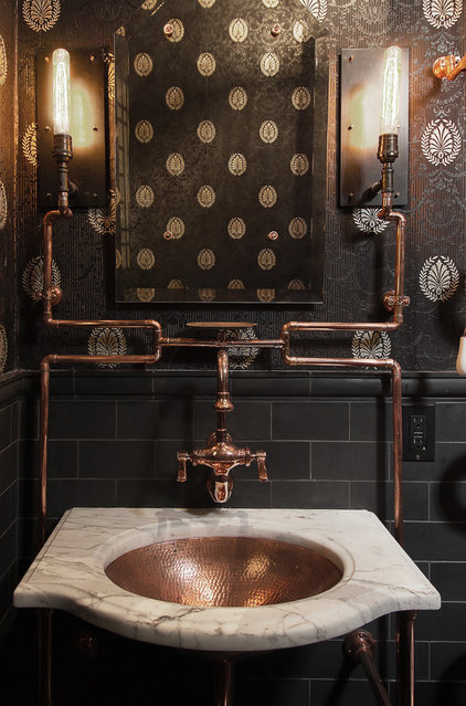 Industrial Bathroom by Frederic Grasset Design Build
