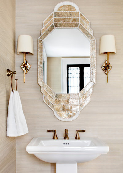 Mediterranean Powder Room by STEPHANIE BRADSHAW