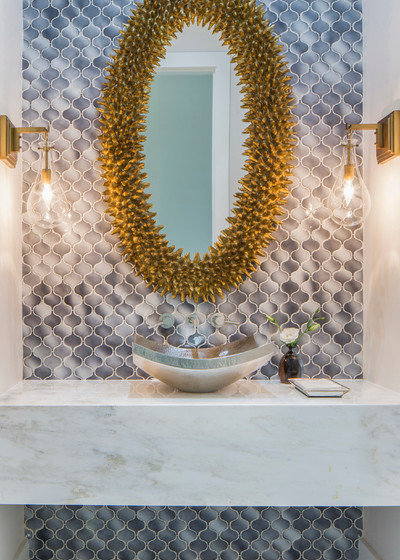 Contemporary Powder Room by Cornerstone Architects
