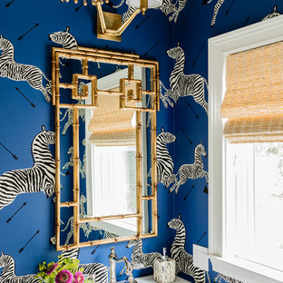 Eclectic powder room photo in Boston