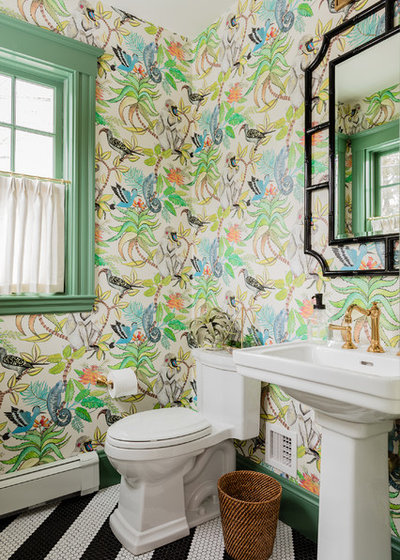 Transitional Powder Room by Kelly Rogers Interiors