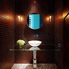 Contemporary Powder Room by Stockett Tile & Granite Company